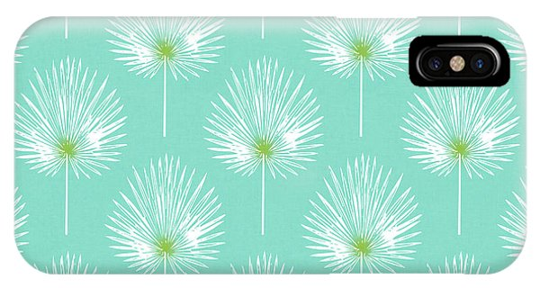 Simple iPhone Case - Aqua And White Palm Leaves- Art By Linda Woods by Linda Woods