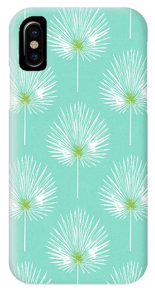 Leaf iPhone Case - Aqua And White Palm Leaves- Art By Linda Woods by Linda Woods