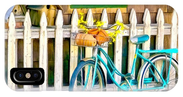 Aqua Antique Bicycle Along Fence IPhone Case