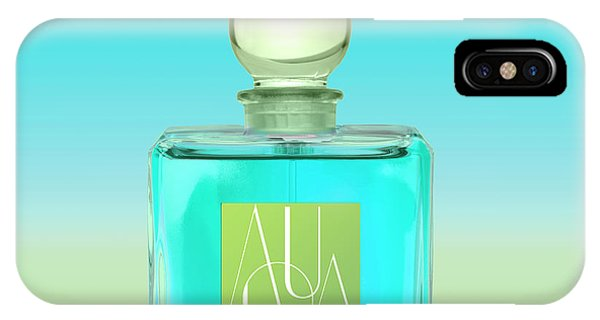 Perfume Bottles iPhone Case - Aqua Art Deco Perfume Bottle by Mindy Sommers