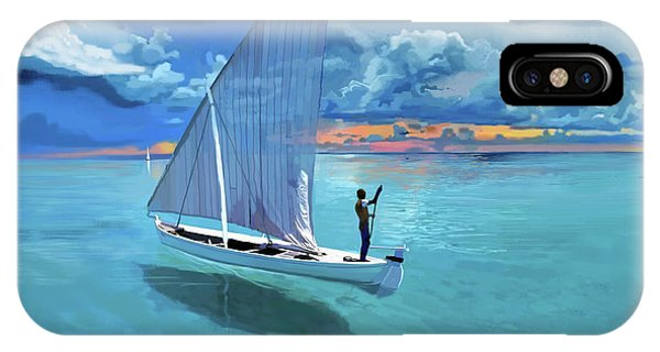Catamaran iPhone Case - Aqua Blue And Ulua by Brad Burns