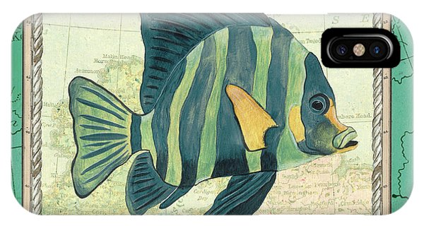 Wild Life iPhone Case - Aqua Maritime Fish by Debbie DeWitt