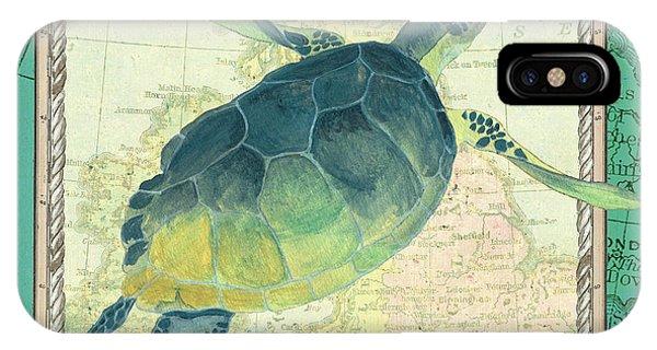 Turtle iPhone X Case - Aqua Maritime Sea Turtle by Debbie DeWitt
