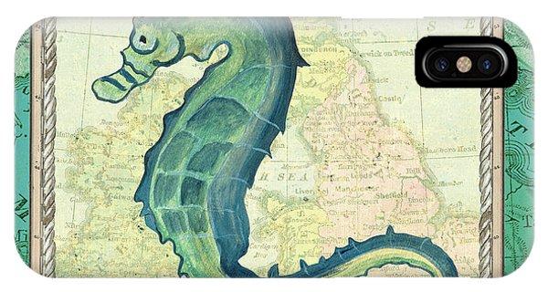 Seahorse iPhone Case - Aqua Maritime Seahorse by Debbie DeWitt