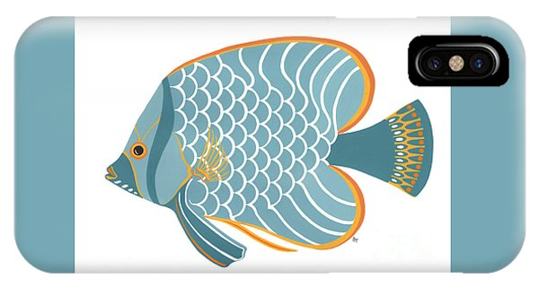 Aqua Mid Century Fish IPhone Case