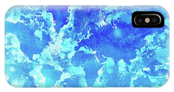 New Trend iPhone Case - Aqua World Map by Zaira Dzhaubaeva