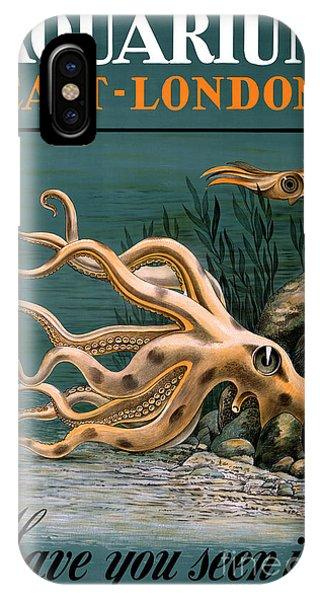 Aquarium Octopus Vintage Poster Restored IPhone Case