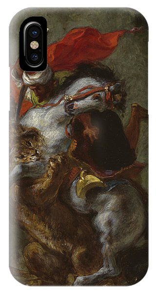 Horseman iPhone Case - Arab Horseman Attacked By A Lion by Ferdinand Victor Eugene Delacroix
