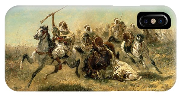 Horseman iPhone Case - Arab Horsemen On The Attack by Adolf Schreyer