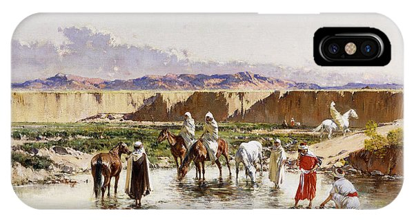 Horseman iPhone Case - Arab Horsemen Watering In An Oasis by Victor-Pierre Huguet