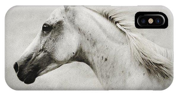 Arabian White Horse Portrait IPhone Case