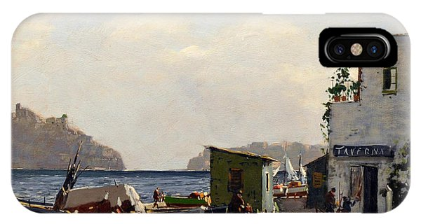 IPhone Case featuring the painting Aragonese's Castle - Island Of Ischia by Rosario Piazza