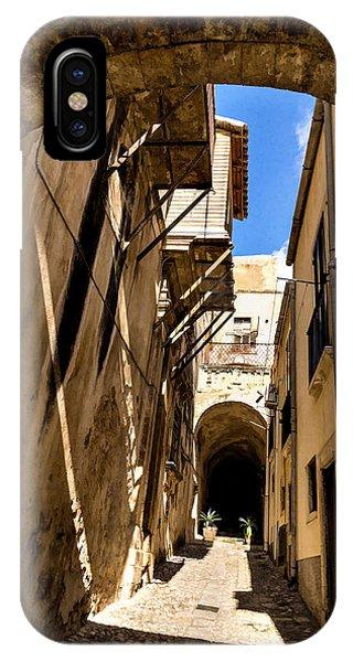 Timeworn iPhone Case - Sharp Shadows Passageway - Old Town Noto Sicily Italy by Georgia Mizuleva