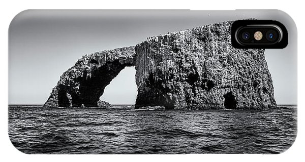 IPhone Case featuring the photograph Arch Rock Three In Black And White by Endre Balogh