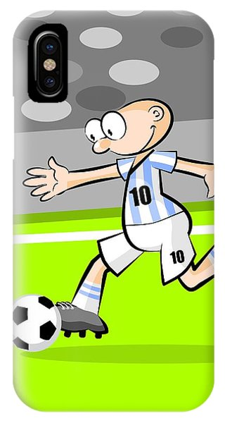 Argentinian Soccer Player With The Ball IPhone Case