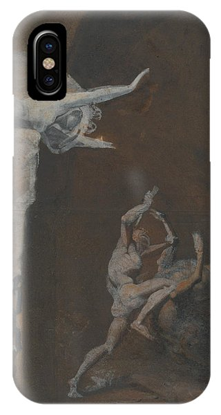 Minotaur iPhone Case - Ariadne Watching The Struggle Of Theseus With The Minotaur by Henry Fuseli