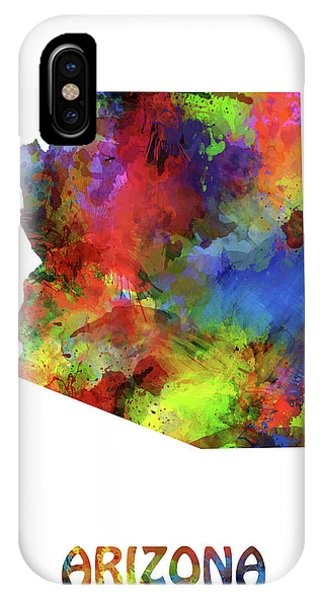 Southwest iPhone Case - Arizona Map Watercolor by Bekim M