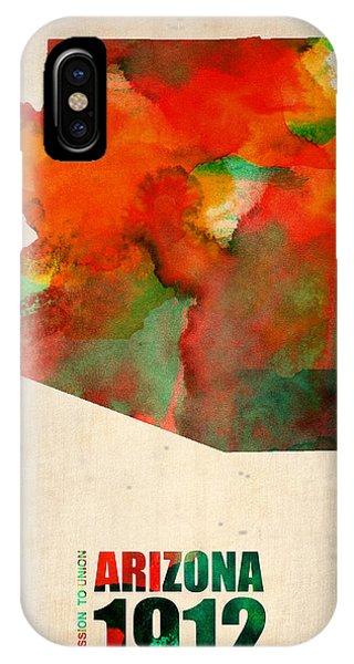 Arizona iPhone Case - Arizona Watercolor Map by Naxart Studio