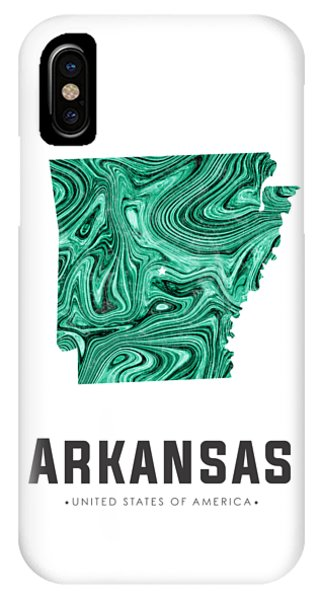 Arkansas Map Art Abstract In Green IPhone Case
