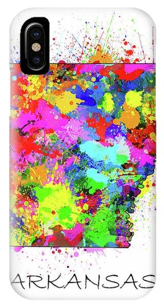 Arkansas Map Color Splatter IPhone Case