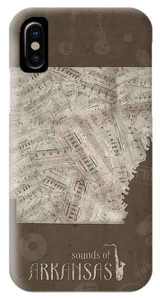 Arkansas Map Music Notes 3 IPhone Case