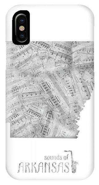 Arkansas Map Music Notes IPhone Case