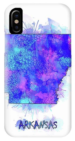Arkansas Map Watercolor 2 IPhone Case