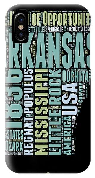 Typography iPhone Case - Arkansas Word Cloud 1 by Naxart Studio