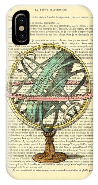 Old World iPhone Case - Armillary Sphere In Color Antique Illustration On Book Page by Madame Memento