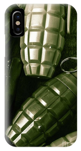 Explosion iPhone X Case - Army Green Grenades by Jorgo Photography - Wall Art Gallery