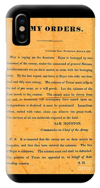 Texian Army Orders Call To Arms Broadside From Sam Houston 1836 Texas Revolution IPhone Case