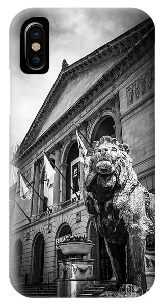 Art Institute Of Chicago Lion Statue In Black And White IPhone Case