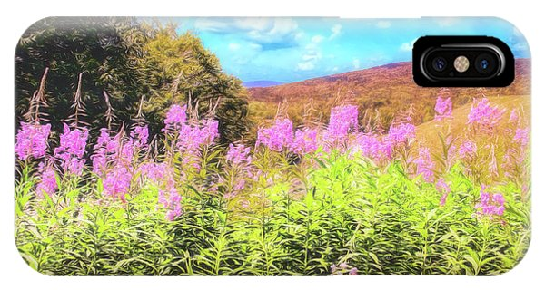 Art Photo Of Vermont Rolling Hills With Pink Flowers In The Foreground IPhone Case