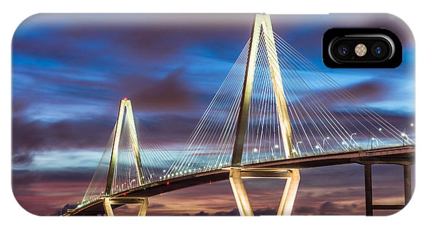 Arthur Ravenel Bridge At Night IPhone Case
