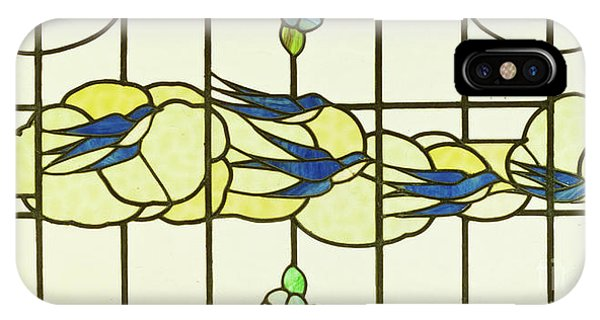 Arts And Crafts Panel Of A Group Of Swallows Before Clouds In A Border Of Flowers IPhone Case