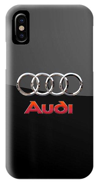 Audi - 3 D Badge On Black IPhone Case