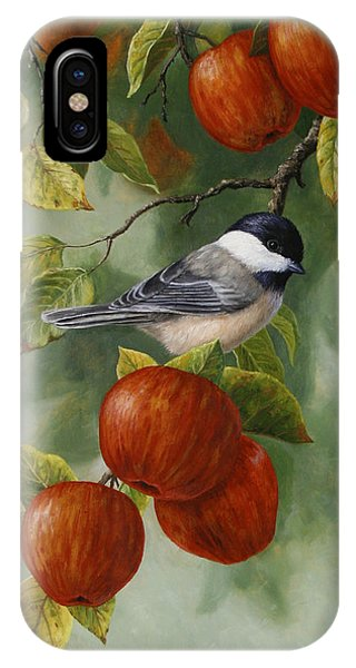 Chickadee iPhone Case - Apple Chickadee Greeting Card 2 by Crista Forest