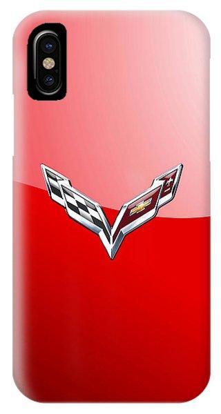 Chevrolet Corvette - 3d Badge On Red IPhone Case
