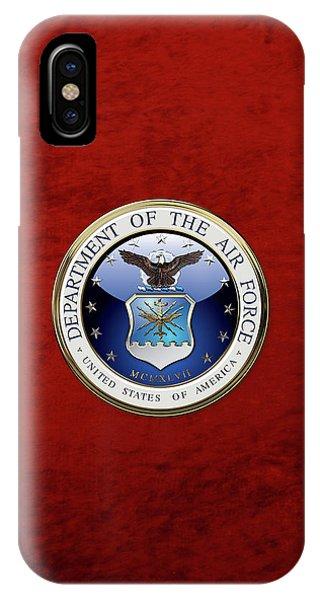U. S.  Air Force  -  U S A F Emblem Over Red Velvet IPhone Case