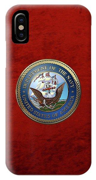 U. S.  Navy  -  U S N Emblem Over Red Velvet IPhone Case