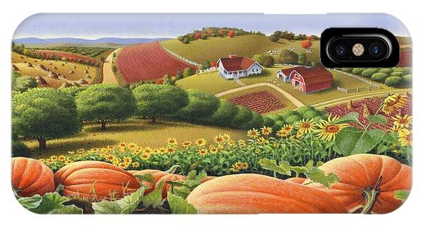 Agriculture iPhone Case - Farm Landscape - Autumn Rural Country Pumpkins Folk Art - Appalachian Americana - Fall Pumpkin Patch by Walt Curlee