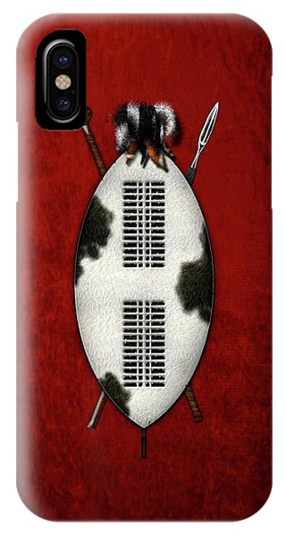 Zulu War Shield With Spear And Club On Red Velvet  IPhone Case