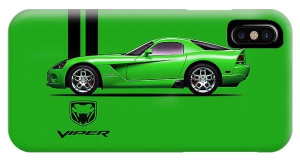 Viper iPhone Case - Dodge Viper Snake Green by Mark Rogan