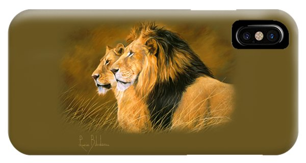 Lion iPhone Case - Side By Side by Lucie Bilodeau