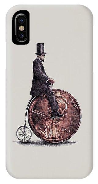 Bike iPhone X Case - Penny Farthing by Eric Fan