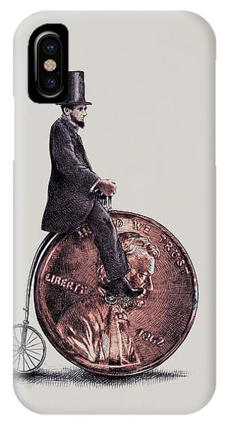 Bicycle iPhone X Case - Penny Farthing by Eric Fan