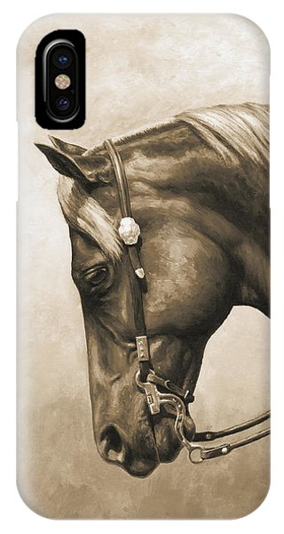 Monochrome iPhone Case - Western Horse Painting In Sepia by Crista Forest