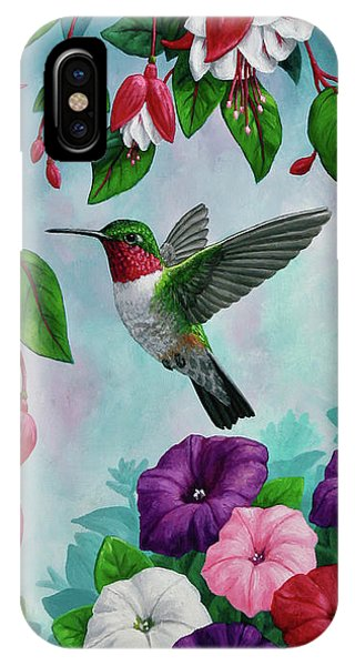 Hummingbird iPhone Case - Bird Painting Hummingbird And Spring Flowers by Crista Forest