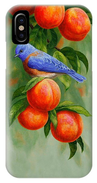 Bluebird And Peaches Greeting Card 2 IPhone Case