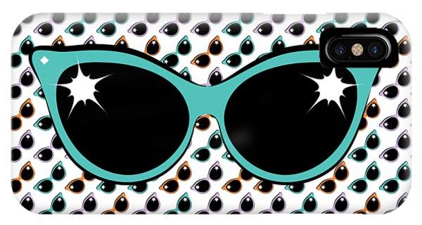 Retro Turquoise Cat Sunglasses IPhone Case